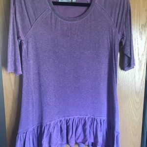 Purple Dantelle blouse with ruffle at the bottom